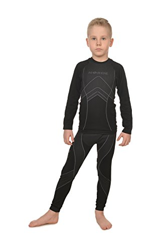 Freenord NORDE THERMOTECH Kinder Sport Thermoaktiv Atmungsaktiv Funktionswäsche (Hemd + Hose) Set (Schwarz/Grau, 110/116)