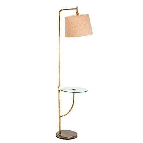 WJP Couchtisch-Stehlampe, modernes Glasregal-vertikale Tischlampe-Wohnzimmer-Schlafzimmer-Studie (Color : LINEN)