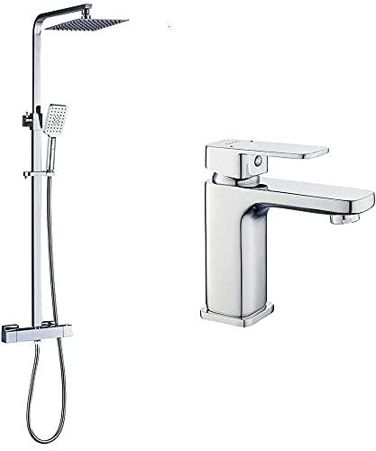 kibath Conjunto Columna de ducha termostática cuadrada Extraplana más Grifo de lavabo VER.Tubo regulable en Altura de 85x120 mm, Cromo Brillo. Fabricada en latón y acero inoxidable.