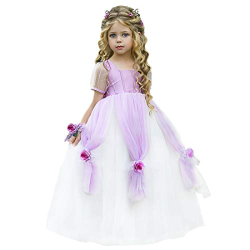 TYHTYM Cinderella Kleid Kostüme Prinzessin Dress Up Cosplay Fancy Party Outfit für Mädchen Gr. 116, violett