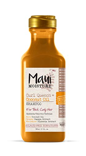 Maui Moisture Curl Quench + Coconut Oil Curl-Defining Anti-Frizz Shampoo to Hydrate and Detangle Tight Curly Hair, Softening Shampoo, Vegan, Silicone & Paraben-Free, 13 fl oz