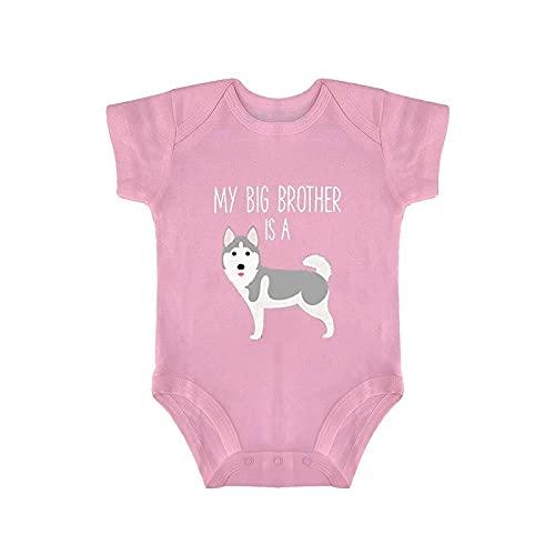 DKISEE Body de bebé siberiano Husky manga corta rosa bebé mono 0-3 meses, qlcj61huffdr