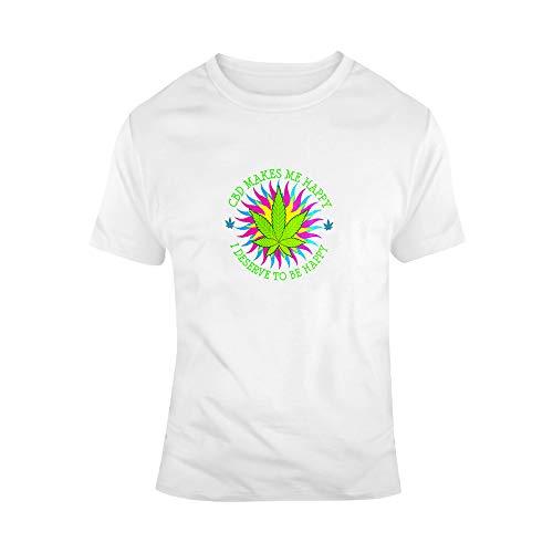 N/ A T-shirt unisexe avec inscription « Cbd makes me happy » - Idée cadeau qui va avec une huile de chanvre comestible ou à l'huile de cannabidiol