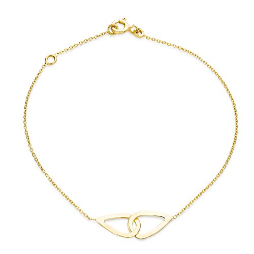 Miore Armband - Armreif Damen Gelbgold 9 Karat / 375 Gold Kette mit Herz 18 cm