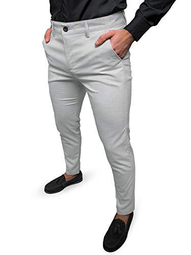 OZONEE Herren Chino Hose Chinos Stoffhose Chinohose Anzughose Anzug Herrenhose Röhrenhose Pants Elegant Business Slim Fit Regular Klassisch Classic Basic 777/6451S GRAU W31