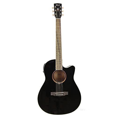 Cort MJ-MEDXBKT - Guitarra electroacústica Mj-Me Dx caoba, color negro brillante