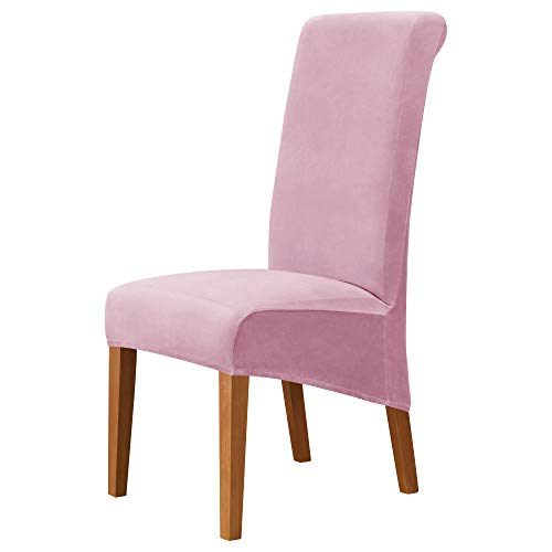 MILARAN Fundas para sillas grandes de Velvet para comedor, suaves y elásticas, fundas para sillas grandes, lavables y extraíbles Parsons (4 unidades), color rosa