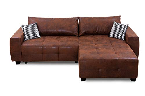 Collection AB Bellezza Polsterecke mit Bettfunktion und Bettkasten Ecksofa, Stoff, Braun, 162 x 242 x 87 cm