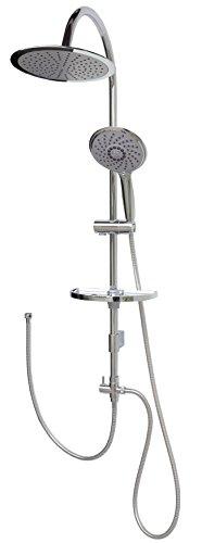 Duschset Regendusche Brausegarnitur Brauseset Überkopfdusche Duschgarnitur Duschsystem Duschkopf Duschstange 100cm variable Halter