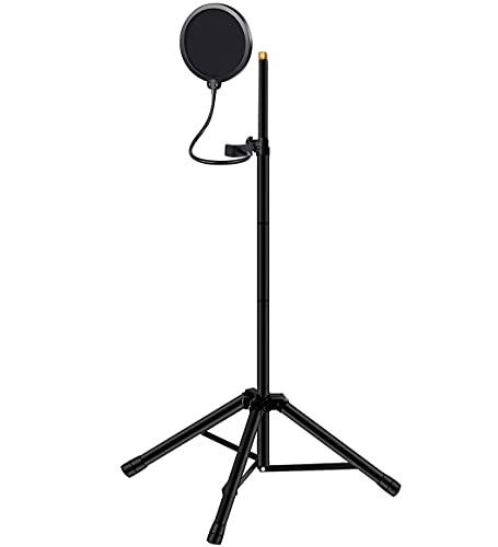 """Mic Stand, Stable Heavy Duty Microphone Stand(52""""~68.9"""") for Microphone Isolation Shield, Tripod Mic Stand with Pop Filter and Non-slip Feet for Blue Yeti Snowball Vocal Booth Studio Recording"""