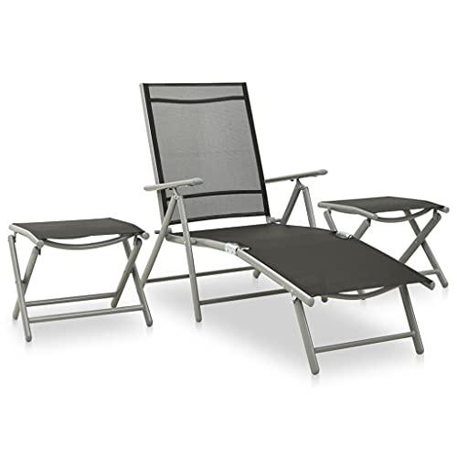 Juego de Muebles de jardín, Juego de sofá de jardín al Aire Libre Juego de conversación en el Patio Juego de salón de jardín de 3 Piezas Textilene y Aluminio Plateado