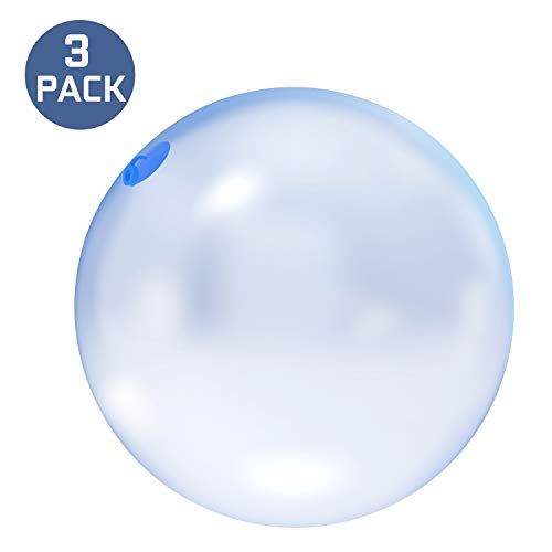 3 PCS Large Size Bubble Ball for Kids Inflatable Funny Amazing Water Ball Soft Rubber Ball Jelly Beach Balls for Outdoor & Indoor Play (Blue Ball)