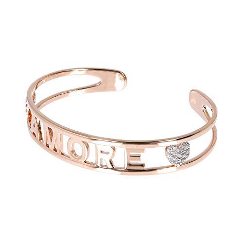 Bronzallure Damen-Armband - Kollektion klar Maci mit Schriftzug AMORE - Color Roségold 18K - Made in Italy
