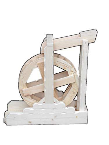 Arbrikadrex Wasserrad Mühlenrad Bachlauf Wassermühle Vollholz Handarbeit Garten Deko voll funktionsfähig Premium (Premium XXXL)