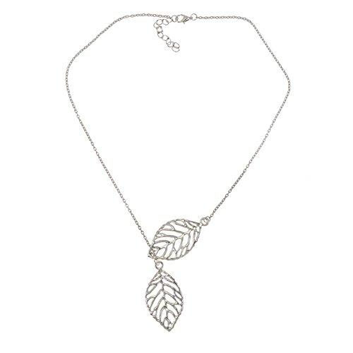 VAGA - Collar de color plateado con colgante en forma de hoja y hojas, decoración en cadena