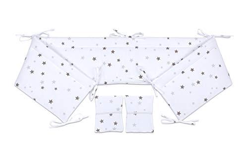 FabiMax Nestchen für Beistellbett Pro, 90x40 cm, graue Sterne auf weiß
