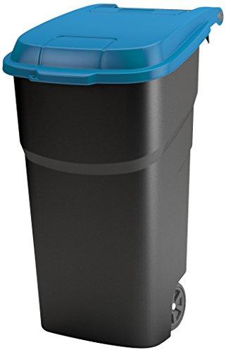 Rotho Atlas Mülltonne 100 l, Kunststoff (PP), schwarz/blau, 100 Liter (59 x 51 x 92 cm)