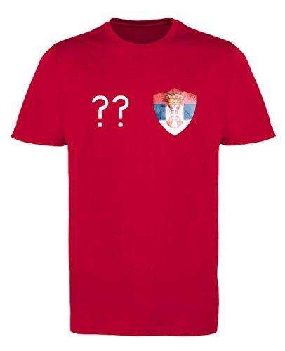 Comedy Shirts - Serbien Trikot - Wappen: Klein - Wunsch - Jungen Trikot - Rot/Weiss Gr. 122-128