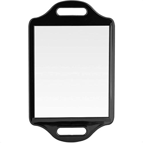 Mirrorvana X-Large Barber Hand Mirror with Double Comfy Grip Twin Handles - Black (14