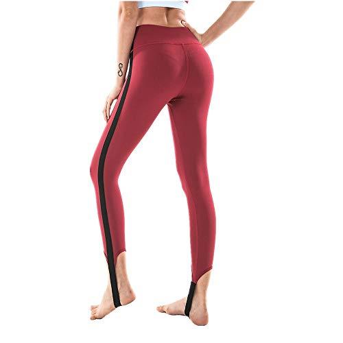 DSCX Leggings FemminiliPantaloni da Yoga Vita Alta Calzamaglia SportivaCorsa Fitness TraspiranteAsciugaturaRapida Moda Rosso L