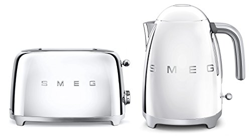 Smeg TSF01SSUK KLF01SSUK | 50er Retro Style 2 Scheiben Toaster & Wasserkocher Set in Chrom