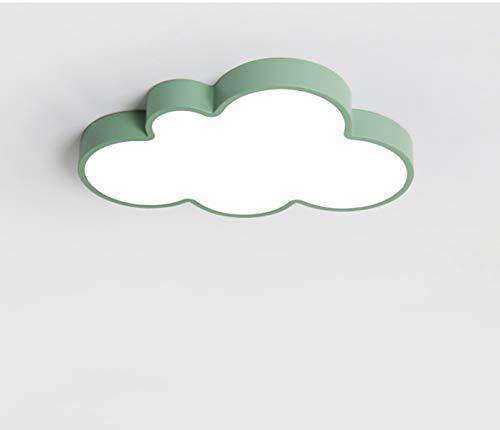 LED Lámpara de techo de nube diseño mono iluminación de 360º plafón para la la habitación de niños sala de juego salon (Luz blanca, Verde (48*28CM))