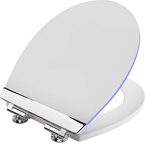Cornat WC-Sitz 'White Shining' - Sanfte LED-Beleuchtung bei Nacht - Mit Akustiksensor - Quick up & Clean Funktion - Absenkautomatik - Bequeme Montage von oben / Toilettensitz / Klodeckel / KSDSC363