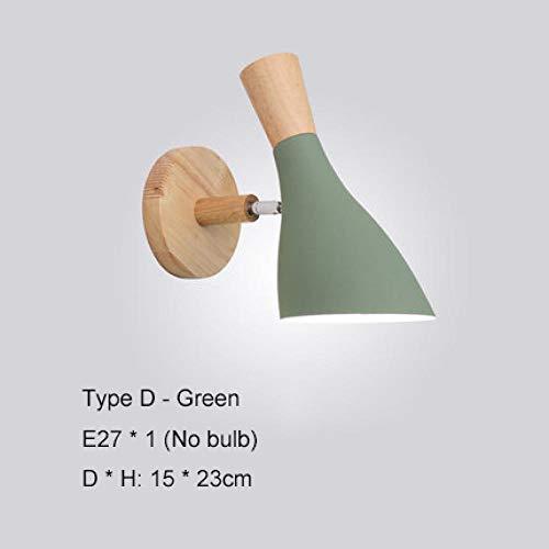 Cyalla Nordic Wooden Led Wall Light Mesita De Noche Lámpara Apliques De Pared Modernos Para Dormitorio Sala De Estar Escaleras Bar Macarrón Color E27-D-Green Sin Bombilla
