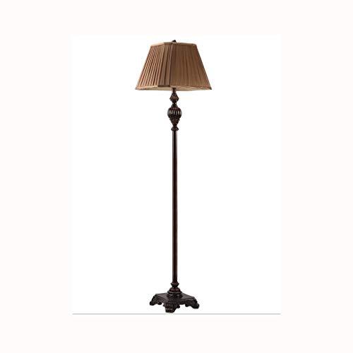 Dzwyc Lámpara de pie Retro Villa Lámparas de pie de la Sala del Dormitorio de Lujo lámpara de cabecera Sala de Estudio Tela Ambiente nostálgico lámparas de Escritorio Lámparas de Mesa (Color : Brown)