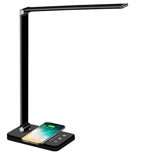 BIENSER Schreibtischlampe LED, QI Kabelloser Ladefunktion, USB Ladefunktion, 5 Farb und 5 Helligkeitsstufen, Büro Tischleuchte Dimmbar, Augenschonende LED Tischlampe, Inklusive CE Adapter - Schwarz