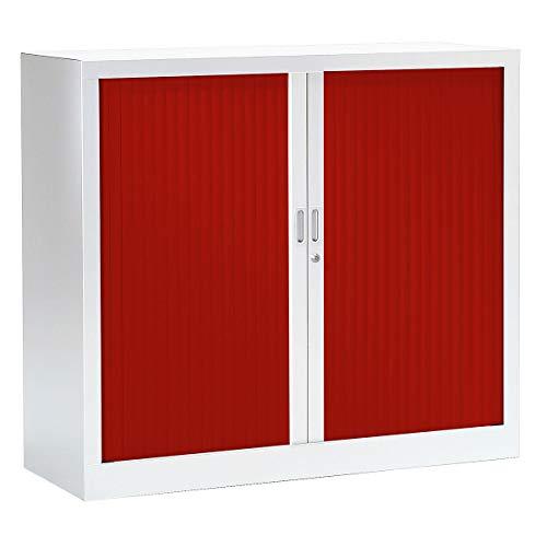 Armoire Monobloc à rideaux | Blanc | Rouge | HxLxP 1000 x 1200 x 430 | Certeo
