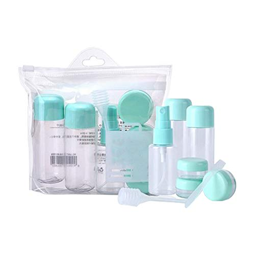Sprießen 8 Stück Reise Flaschen Set Reise-Flaschen Behälter Nachfüllbare Leere Kosmetikflaschen Set Transparente Reiseflasche Kosmetiktasche für Accesoires Duschgel, Shampoo, Creme, Kosmetik, Make-Up
