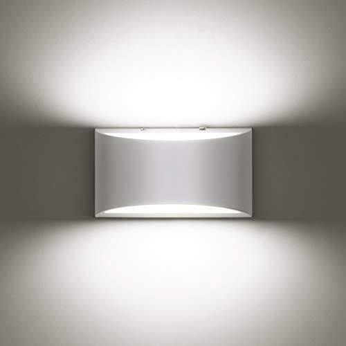 ENCOFT 10W Aplique de Pared LED Interior Lámpara Luz de Pared Moderno con Luz Blanco Frio 6500K en Aluminio para Sala de Estar Dormitorio Comedor Cocina, Blanco