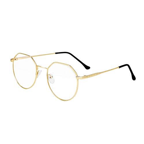 Gafas con filtro de luz azul, para ordenador, gafas de ordenador retro, portalápices, gafas clásicas, sin graduación, gafas de lectura de metal, gafas de pantobrillas para ordenador