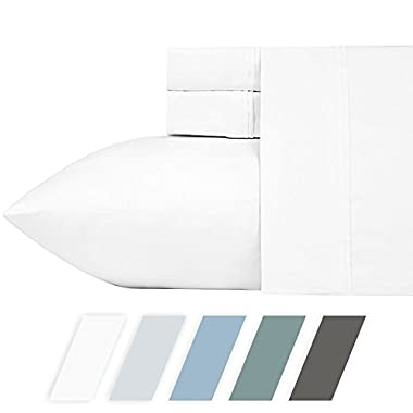 "California Design Den 700 Thread Count (Pure White, Queen) 4 Piece Cotton Blend Sheets Set - Fits Upto 18"" Deep Pockets - Breathable, Silky Sateen Weave, Poly-Cotton Sheets and Pillowcases"