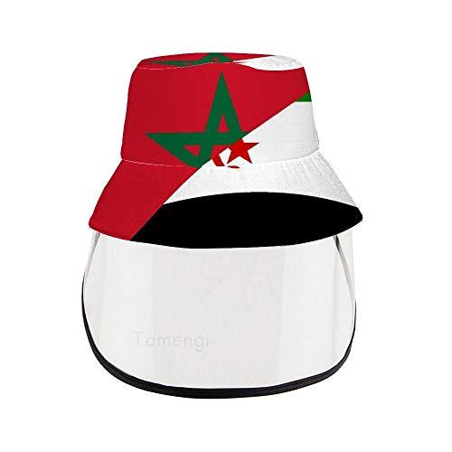 Sombrero de pescador de la bandera del Sahara de Marruecos con máscara de protección facial de PVC extraíble, impermeable, anti-UV, protección para mujeres y hombres
