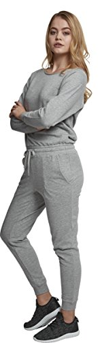 Urban Classics Damen Jumpsuit Ladies Long Sleeve Terry, Grau (Grey 00111) - 4