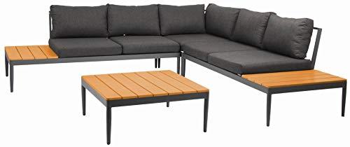 acamp Shade Lounge Set 4-teilig Gartenmöbel, Anthrazit/Teak/anthrazit, 168x77x67 cm