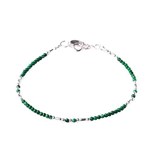 81stgeneratie Nieuw sterling zilver, 925 echte groene kleine malachiet armband