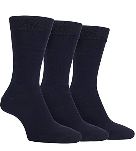 FARAH® Mens 3 Pair Plain Comfort Cuff Socks 6-11 Mens Navy