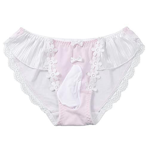 iiniim Men's Sexy Lace Bowknot Bikini Breifs Closed Sissy Pouch Panties Underwear Lingerie Pink Type A One Size