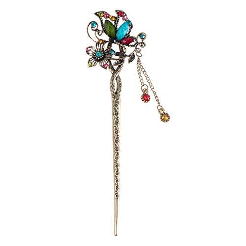 Lurrose Palillo de Pelo de Chino Estilo Antiguo con Cristal para Accesorio de Cabello de Mujer y Niñas