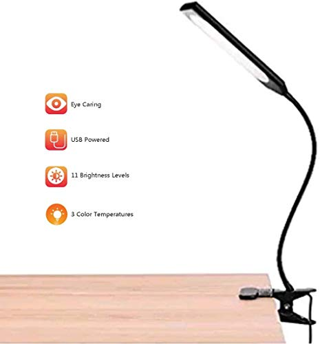 LED Desk Lamp, Flexible Gooseneck Lamp, Eye-Caring Table Lamps, Dimmable Office Lamp with USB Charging Port, 11 Brightness Levels with 3 Color Temperatures, Black, 5W