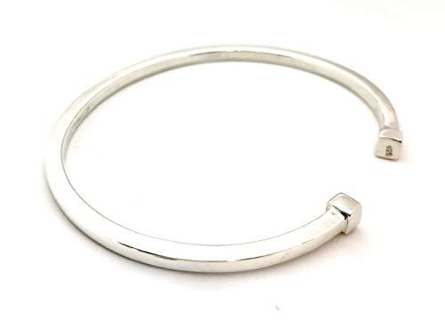 Pulsera de plata de ley 925 con forma de tubo cuadrado, circunferencia de 20 cm