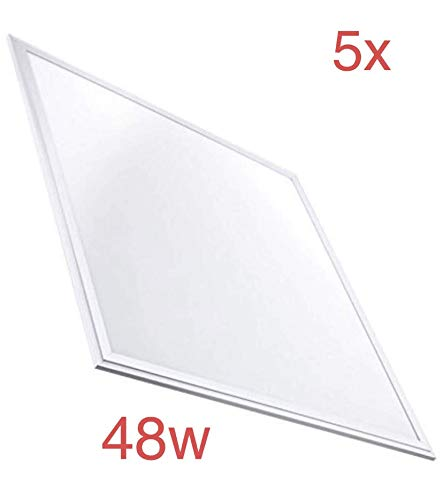 Pack 5x Panel LED 60x60 cm 48w. Color Blanco Frio (6500K). 4000 lumenes. Driver incluido. A++