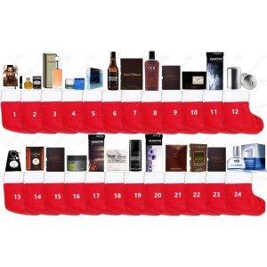 Parfum Adventskalender für Männer - 24x Parfum Eau de Toilette & Eau de Parfum Miniaturen/Proben und Haarpflege + 24x Socken - Mit Raritäten, sehr selten ! - Variante 10