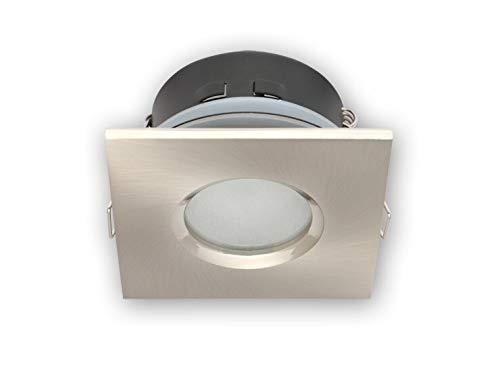 Vochtige ruimtes IP65 inbouwspot GU10 inbouwframe downlight waterdicht Ø70mm boorgat aluminium incl. GU10 fitting voor LED-lampen, hoekig, satijn