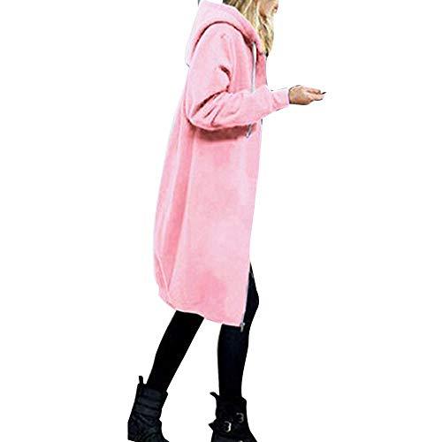 Chaqueta larga de entretiempo para mujer, para invierno, cálida, con cremallera, elegante, sudadera con capucha, abrigo, sudadera, chaqueta de exterior, chaqueta deportiva, trench, Rosa1, XXXXL