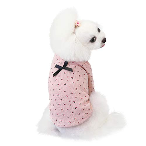 Coversolat Hundekleidung Klein Hunde Winter Sweater mit Kirsche Motiv Hundepullover Shirt Winter Haustier Katze Hund Kleidung