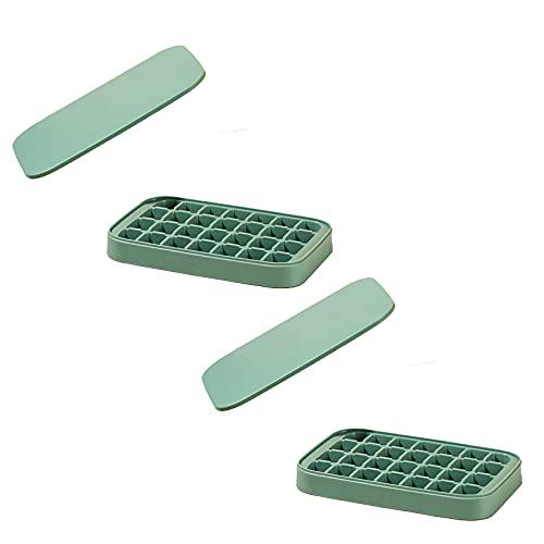 Molde de hielo para congelador de 2 piezas con tapa, bandeja de hielo de gran capacidad de plástico de calidad alimentaria, caja de hielo creativa para el hogar, 28 celdas (10 ml/celda)